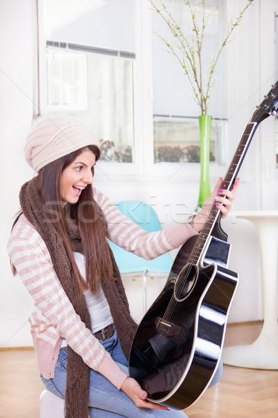Сток-фото: девушки · гитаре · настоящее · Cute · модель · красоту