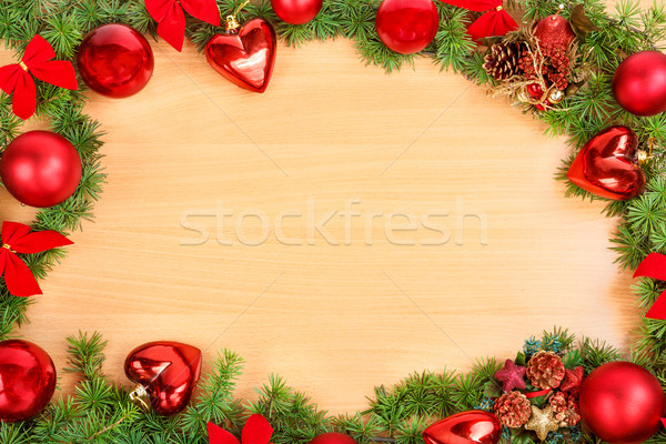 új év dekoráció fenyőfa fenyő piros díszek Stock fotó © feelphotoart