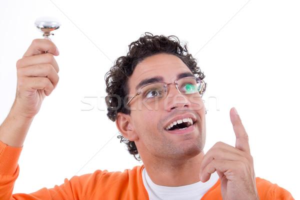 Geistvoll Mann Idee halten Glühlampe wie Stock foto © feelphotoart