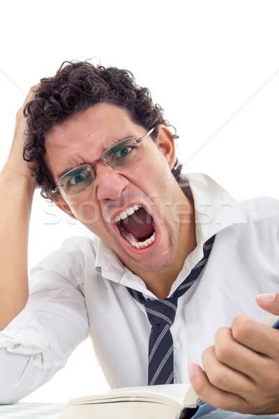 сердиться человека очки белый рубашку сидят Сток-фото © feelphotoart