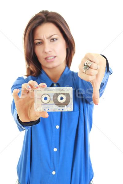 девушки старые аудио кассету Сток-фото © feelphotoart