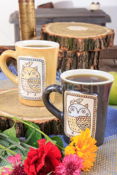 Stock fotó: Kettő · modern · csészék · tea · dohányzóasztal · kávé