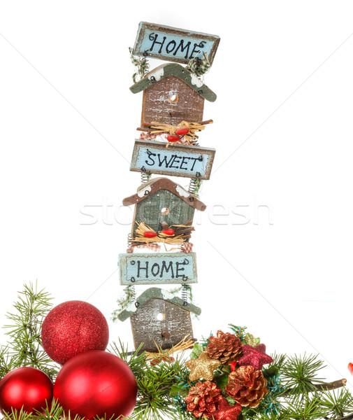 Piros díszek fenyőfa fenyő karácsony új év Stock fotó © feelphotoart