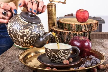 Romantikus csészék sütik fa asztal hagyományos klasszikus Stock fotó © feelphotoart