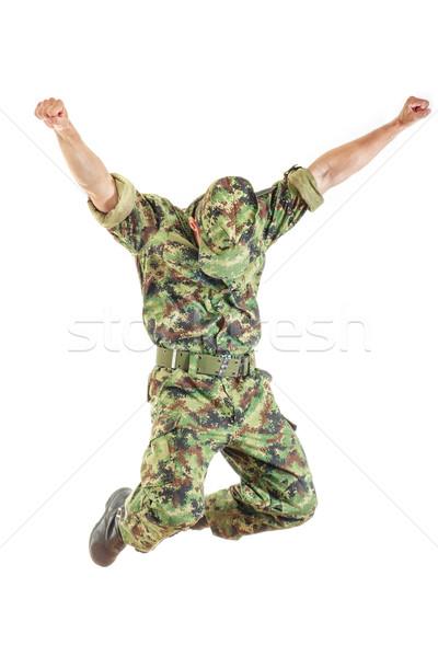 равномерный Hat прыжки неизвестный солдата Сток-фото © feelphotoart