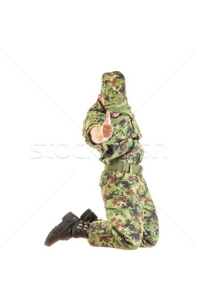 兵士 隠された 顔 緑 ユニフォーム ストックフォト © feelphotoart
