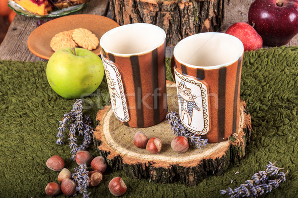 ретро Печенье таблице яблоки Сток-фото © feelphotoart