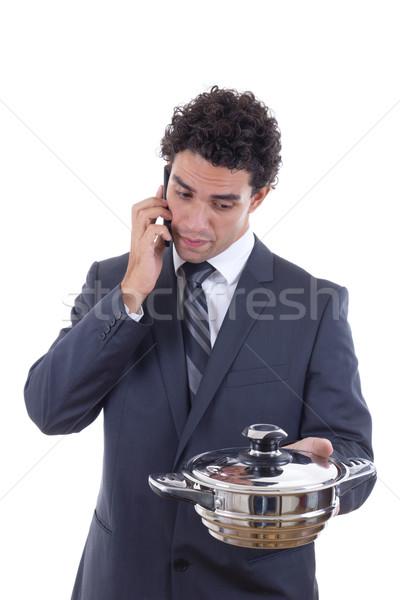 éhes férfi ebéd mobiltelefon felnőtt öltöny Stock fotó © feelphotoart