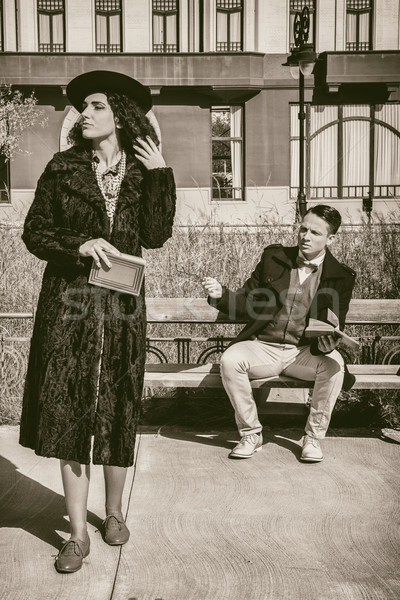Dwie osoby stosunku problemy vintage stylu elegancki Zdjęcia stock © feelphotoart