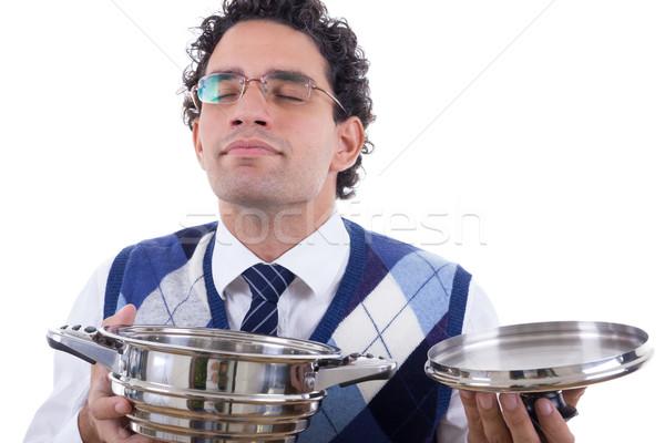 человека обед банка очки здоровья Сток-фото © feelphotoart