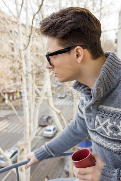 удивленный человека очки Кубок кофе стороны Сток-фото © feelphotoart