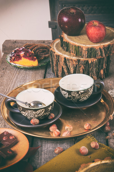 Tea equipment on vintager kitchen table Stock photo © feelphotoart