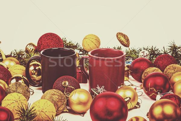 új év dekoráció fenyőfa fenyő sok citromsárga Stock fotó © feelphotoart