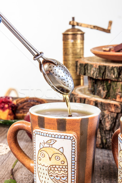 Сток-фото: чай · деревянный · стол · домашний · Cookies · Vintage