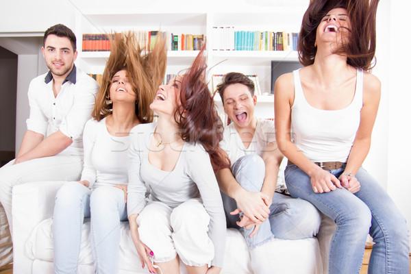 group of friends having fun at home Stock photo © feelphotoart