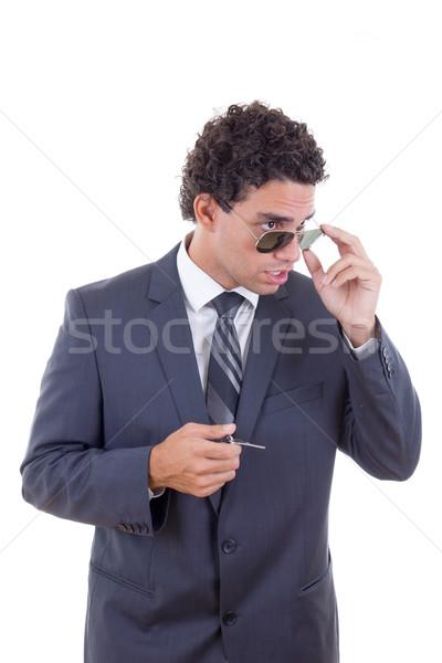 Meglepődött üzletember szemüveg tart kulcsok fiatal Stock fotó © feelphotoart