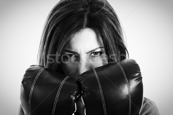 Retrato determinado feminino boxeador moderno Foto stock © feelphotoart