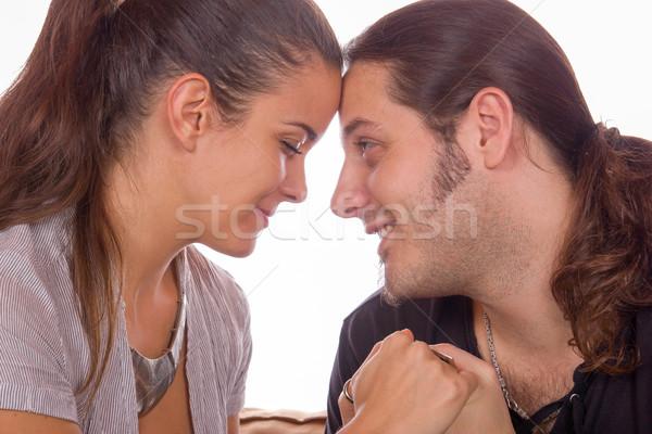 пару любви , держась за руки улыбка лице безопасности Сток-фото © feelphotoart
