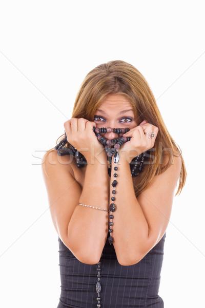 Utangaç kız etrafında boyun sevimli moda Stok fotoğraf © feelphotoart