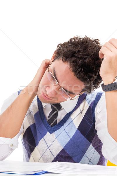 Férfi nyaki fájdalom pulóver olvas könyv kék Stock fotó © feelphotoart