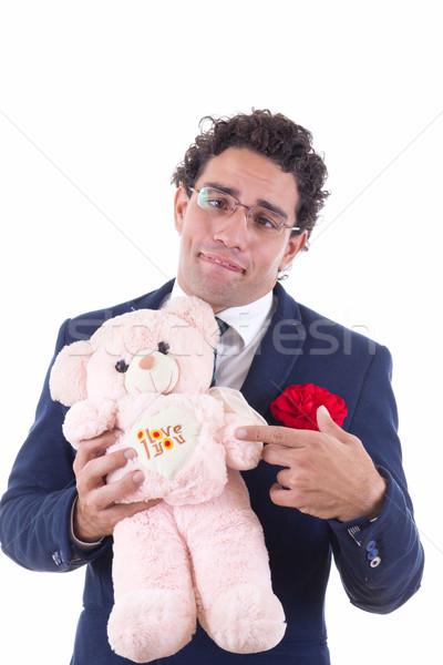 Desajeitado homem teddy menu óculos Foto stock © feelphotoart