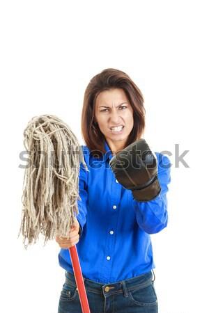бесстрашный молодые деловая женщина бокса черные перчатки Сток-фото © feelphotoart