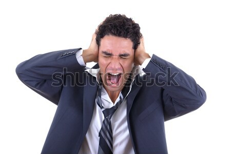 man holding his head and screaming Stock photo © feelphotoart