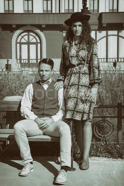 пару романтические Vintage стиль вместе скамейке Сток-фото © feelphotoart