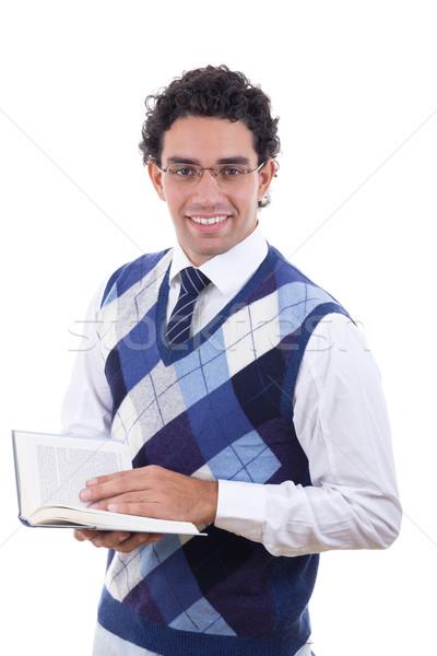 Férfi pulóver tart nyitott könyv felnőtt iskola Stock fotó © feelphotoart