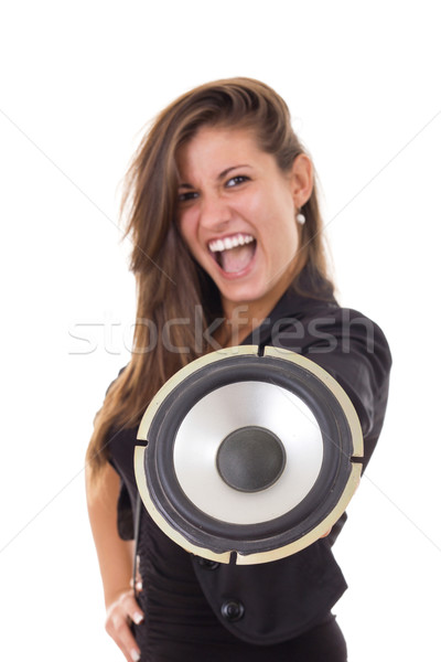 pretty business woman with speaker Stock photo © feelphotoart