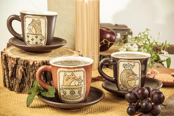 три ретро пусто чай деревянный стол Сток-фото © feelphotoart