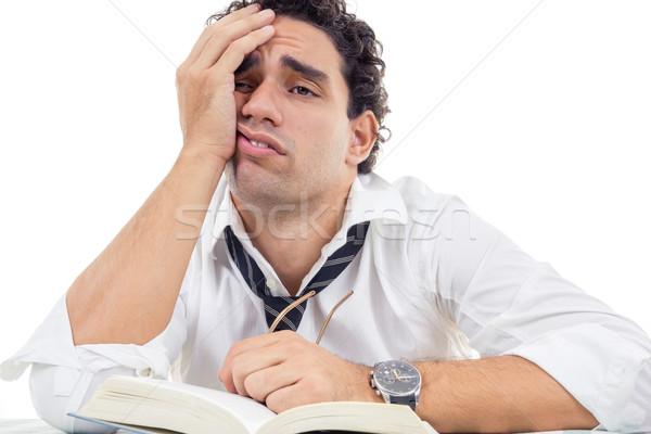устал человека очки белый рубашку сидят Сток-фото © feelphotoart