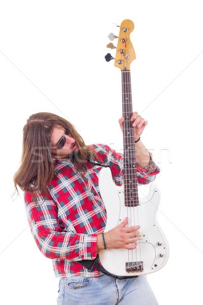 Man shirt spelen elektrische bas gitaar Stockfoto © feelphotoart