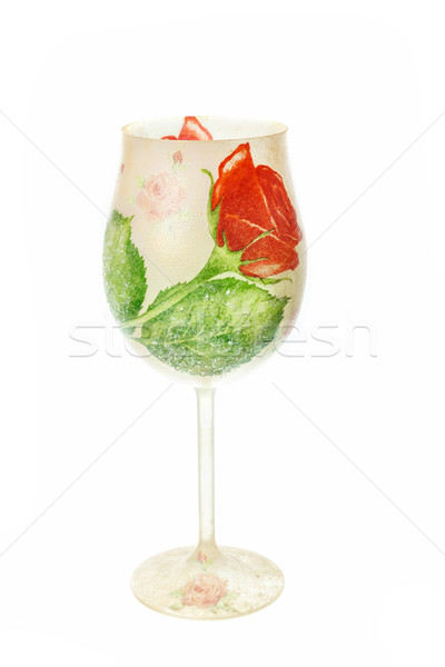 glass with hand mottled floral symbols of napkin Stock photo © feelphotoart