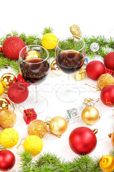Natale capodanno decorazione pino rosso Foto d'archivio © feelphotoart