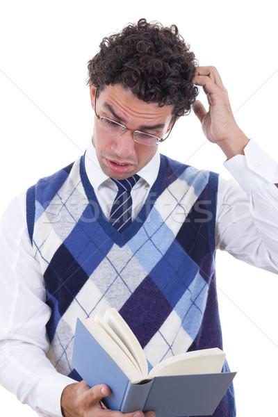 человека удивленный книга жилет очки бизнеса Сток-фото © feelphotoart