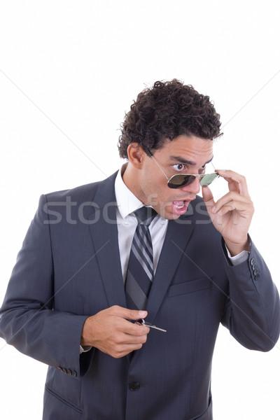 Meglepődött megrémült üzletember szemüveg tart kulcsok Stock fotó © feelphotoart