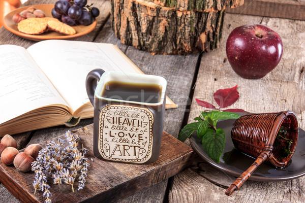 интересный Кубок чай сообщение деревянный стол пластина Сток-фото © feelphotoart