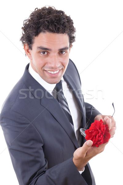 seducer smiling  with rose Stock photo © feelphotoart