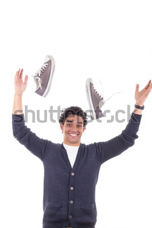 Atraente cabeleireiro soprar pente sorridente mão Foto stock © feelphotoart