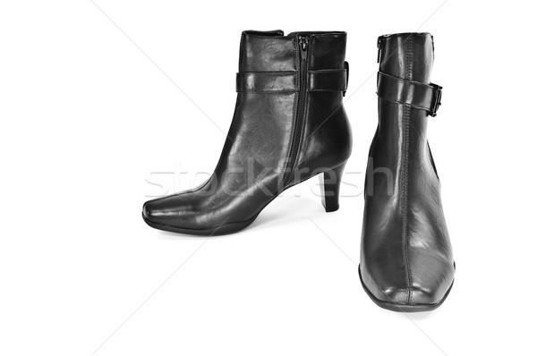 Csizma izolált pár fehér bőr cipő Stock fotó © FER737NG