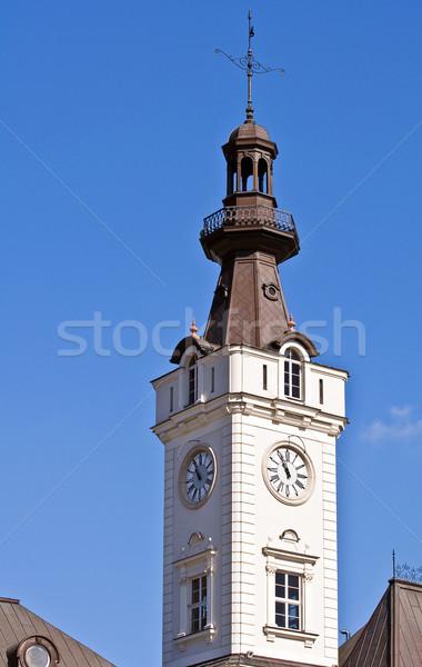 Saat kule görüntü mavi gökyüzü Bina Stok fotoğraf © FER737NG