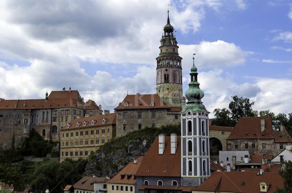 Középkori város Csehország ház város templom Stock fotó © FER737NG
