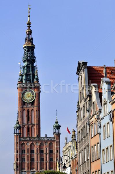 Città danzica Polonia clock torre edifici Foto d'archivio © FER737NG