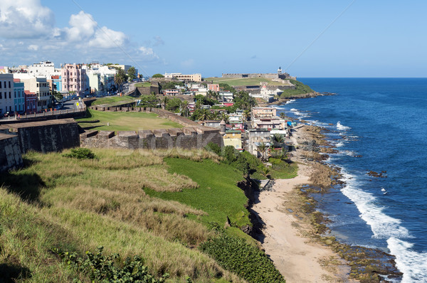 Kilátás kastély öreg San Juan Puerto Rico trópusi Stock fotó © FER737NG