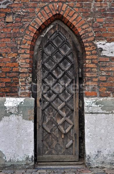 Gótikus ajtó város Gdansk Lengyelország kastély Stock fotó © FER737NG