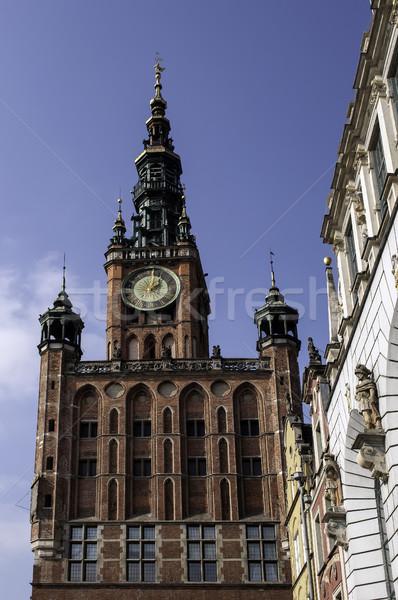 Danzica Polonia clock torre edifici lungo Foto d'archivio © FER737NG