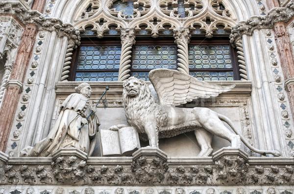 Oroszlán osztályzat szobor Velence Olaszország Biblia Stock fotó © FER737NG