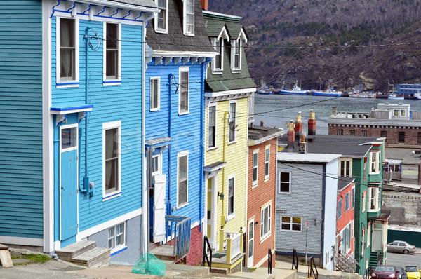 Newfoundland rij kleurrijk huizen stad Stockfoto © FER737NG