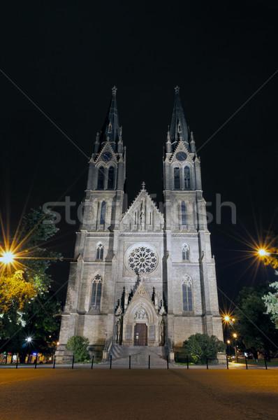 Bazilika templom éjszaka tégla Prága köztársaság Stock fotó © FER737NG